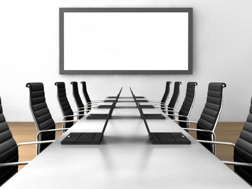 Modern Conference Room Table   In White