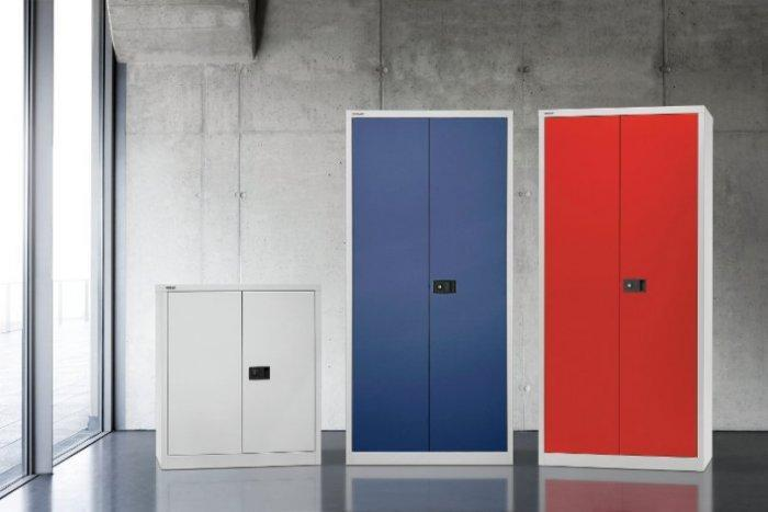 Modern file cabinet - red and blue