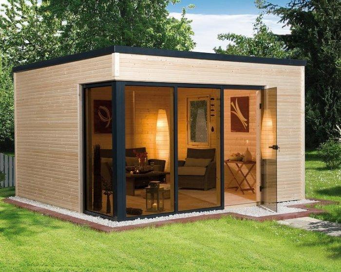 modern garden shed with glass facade founterior. Black Bedroom Furniture Sets. Home Design Ideas