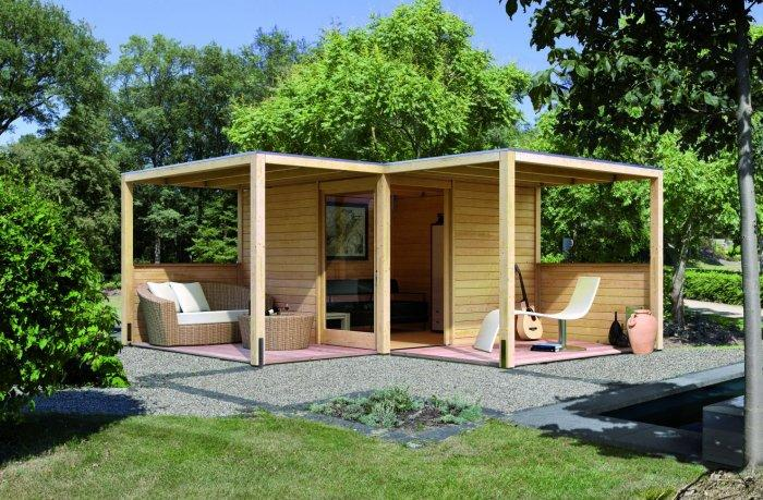 Open garden shed with patio furniture
