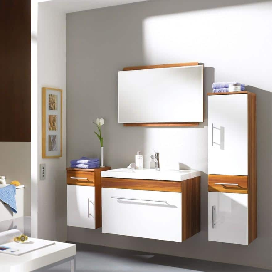 Sectional bathroom vanity - in white and brown