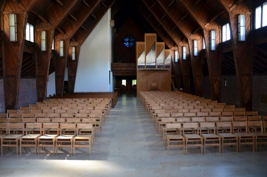 simple church chairs in rows