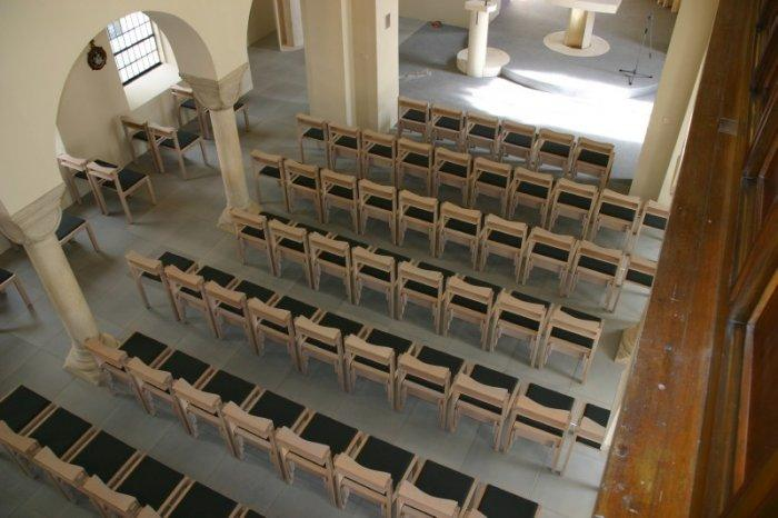 small church chairs in a church