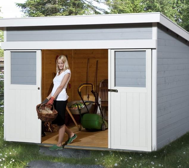 Small garden shed - with woman