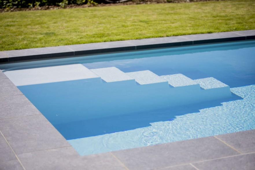 Swimming pool with stairs - in the backyard