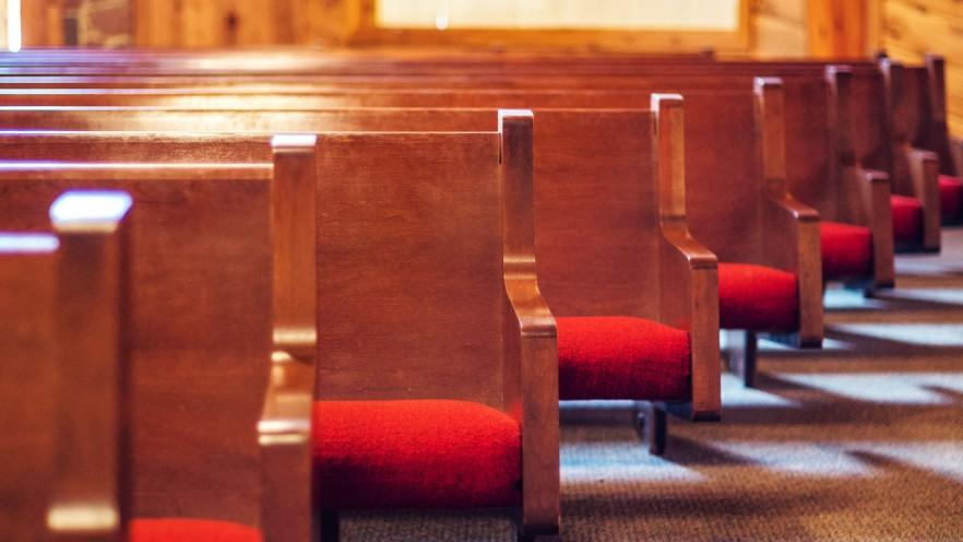Wooden church chairs - in a row
