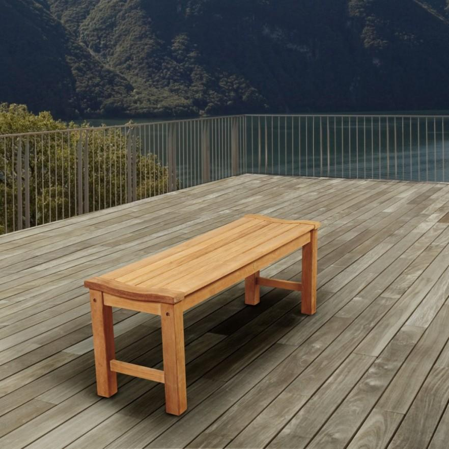 Backless teak outdoor bench - for patio use