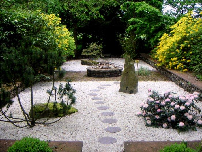 Garden pathway with pavestones and pebbles