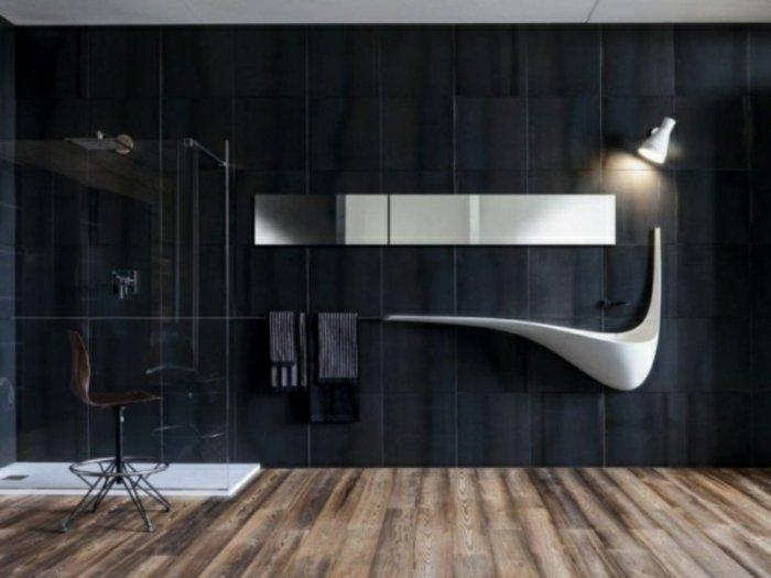 Minimalist bathroom with futurist sink