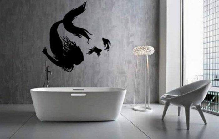 Bathroom suite with wall decals
