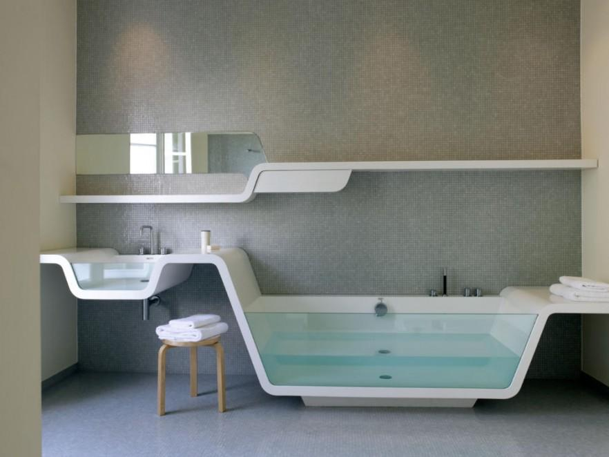 Bathroom suite with glass bathtub