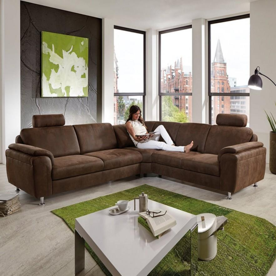 Brown corner sofa - in modern loft room