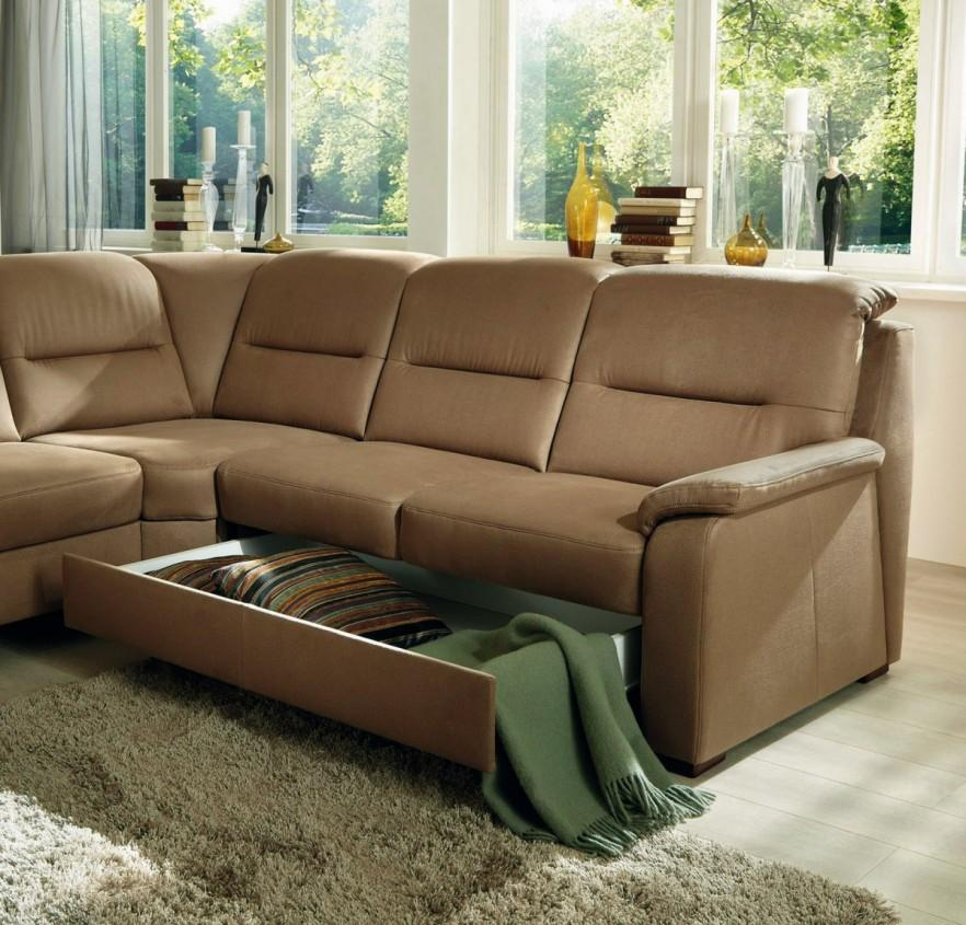 Brown corner sofa - with drawers storage
