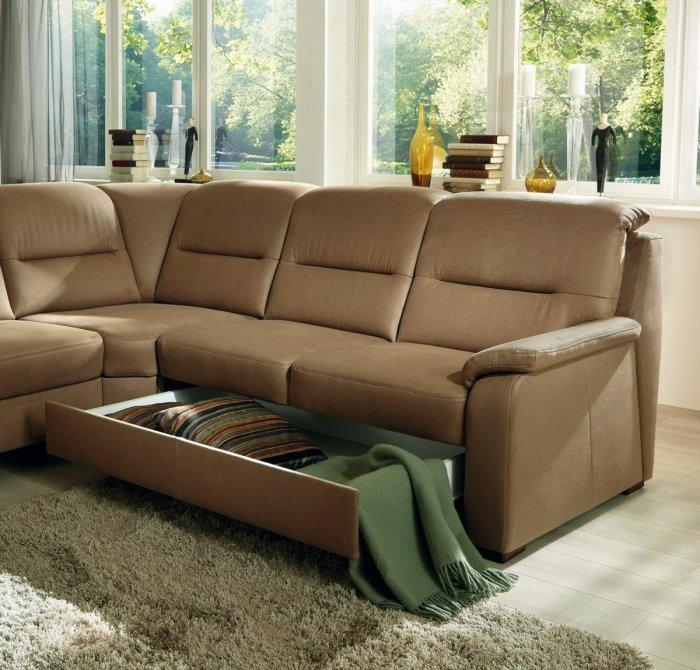 Brown Corner Sofa   With Drawers Storage