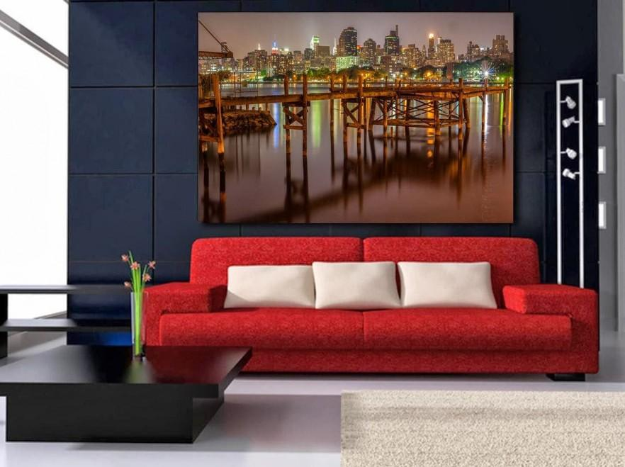 Canvas contemporary wall art - a city skyline