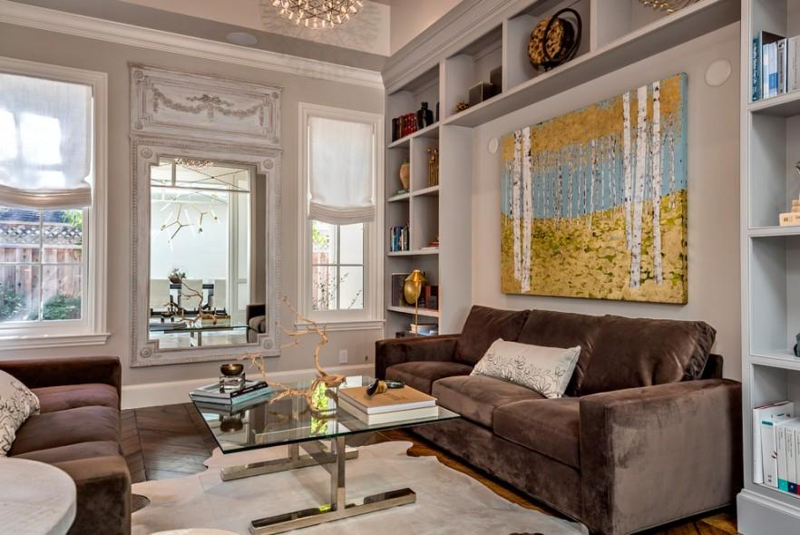 Canvas print in stylish living room