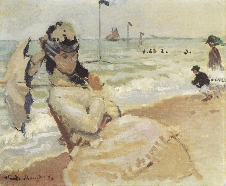 Claude Monet - Camille at beach of Trouville