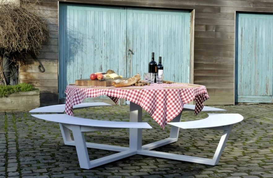 Contemporary picnic table - with red cloth