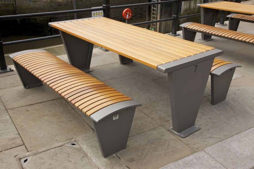 Contemporary picnic table - with solid benches