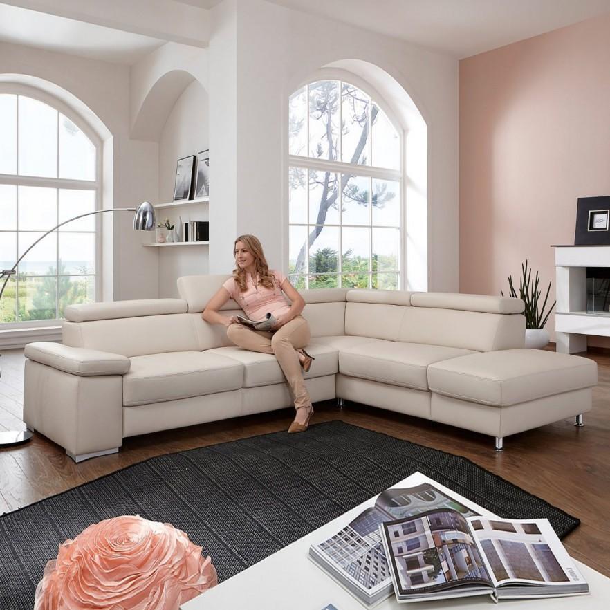 cream corner sofa in pink living room