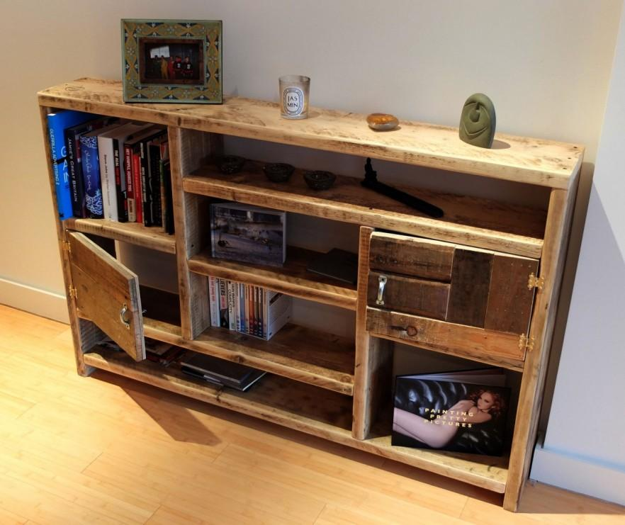 Entryway pallet shelves - for storing books and stuff