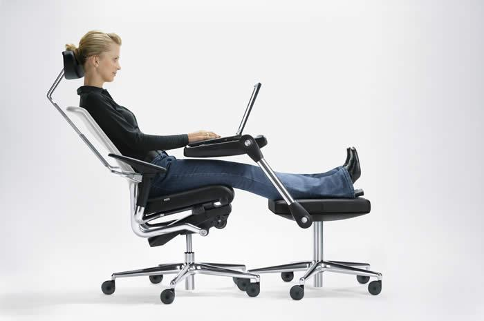 Boss lying on office chair
