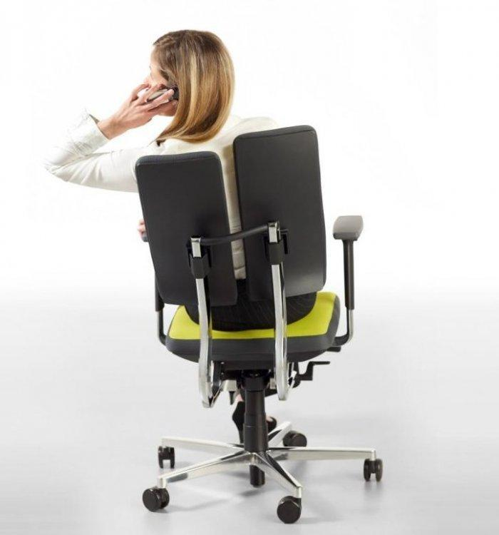 Office chair with woman on it