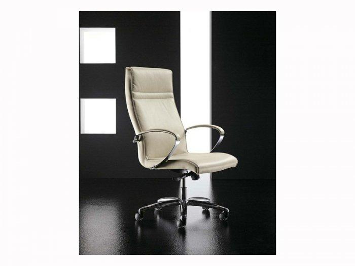 White office chair on black background