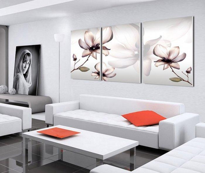 A Guide To Minimalist Home Décor: Floral modern wall art - three paintings