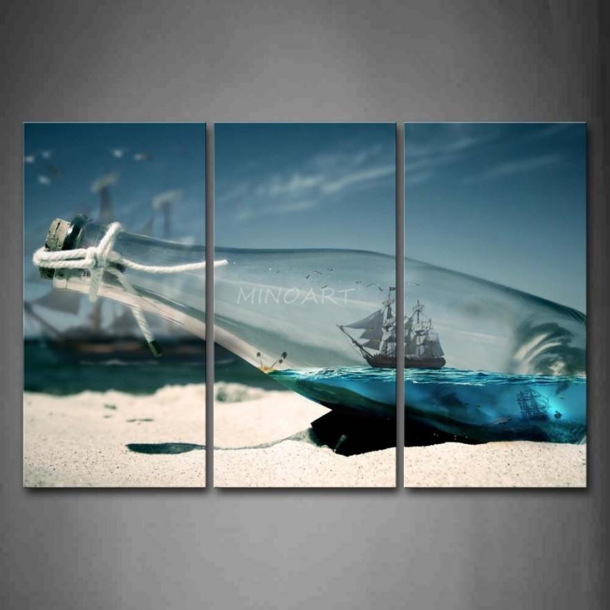 Metal contemporary wall art - a print of bottle