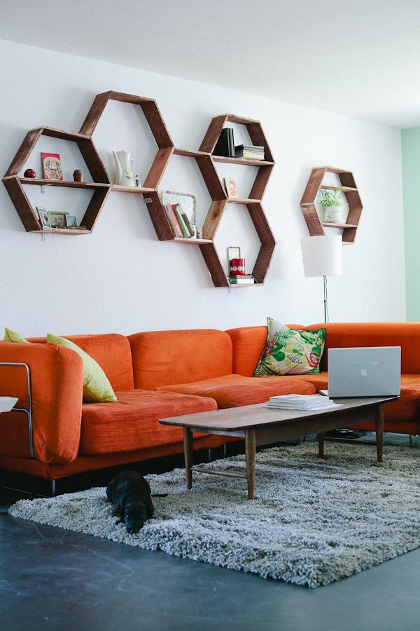 Handmade wall shelves - for living room wall