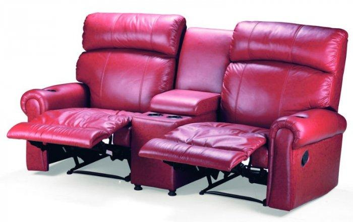 Home theater seating - two red armchairs