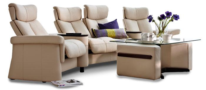 Home theater seating with table