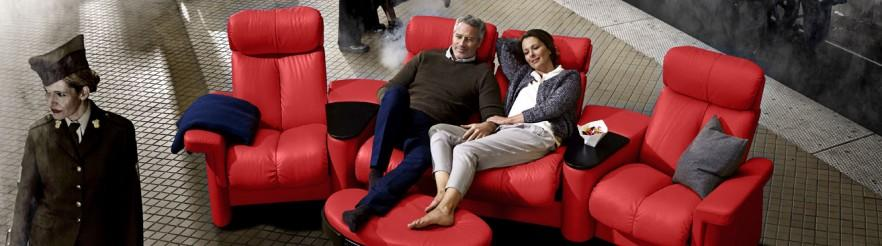 Couple on home theater seating