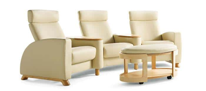 Home theater chairs and table