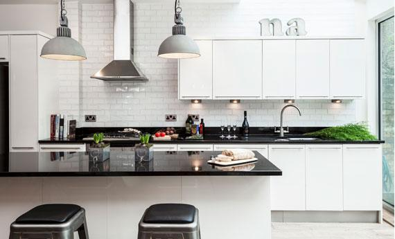 Contemporary kitchen design with white cupboards