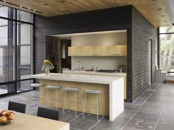 Kitchen design with white island