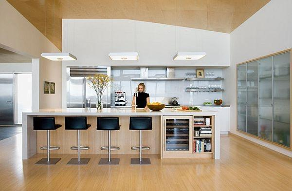 Brown kitchen design with bar stools