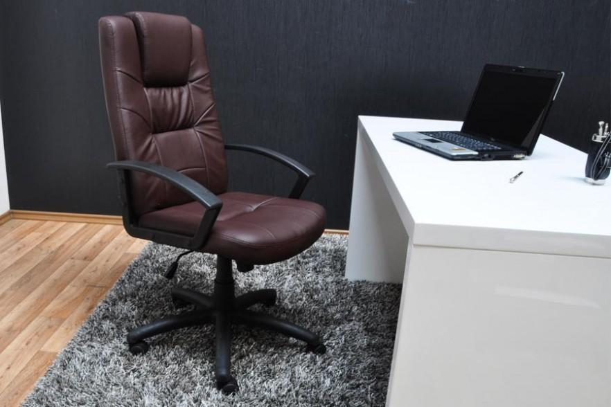 Leather office chair and white desk