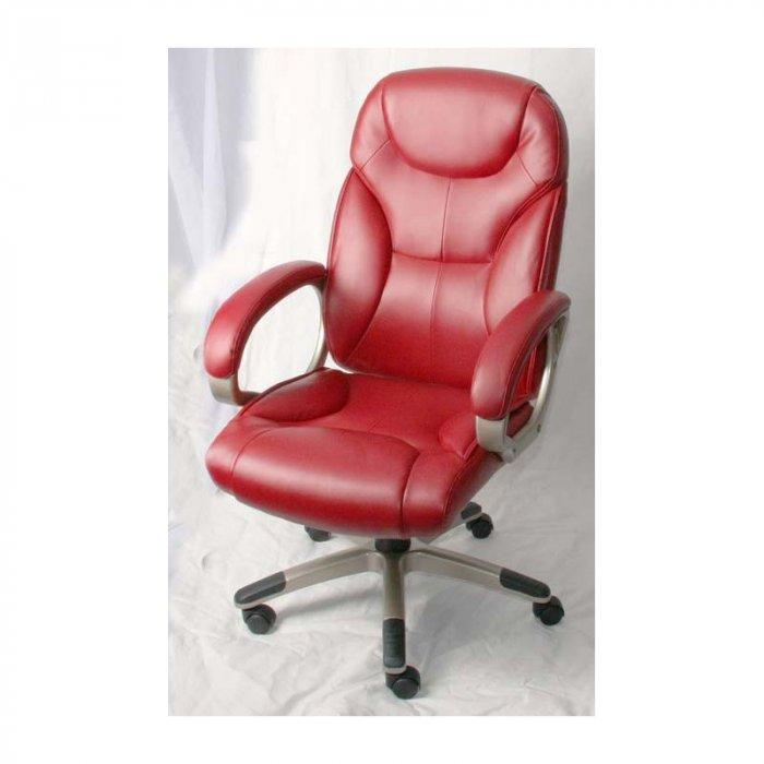 Red leather office chair with wheels