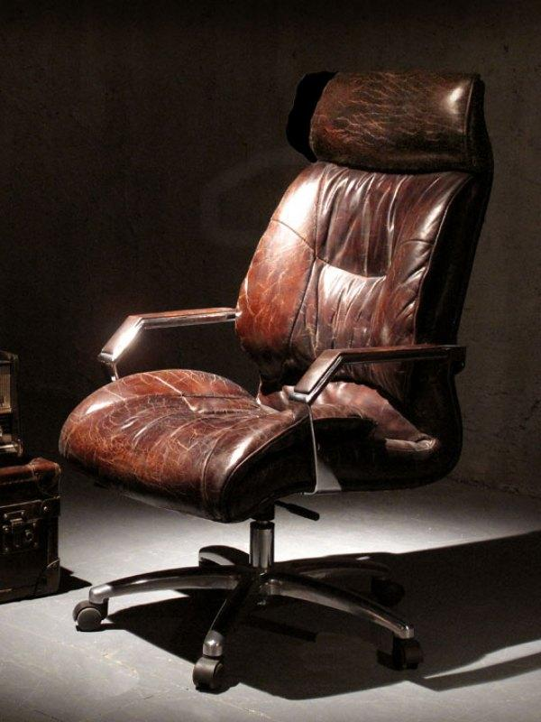 Vintage office chair in brown leather