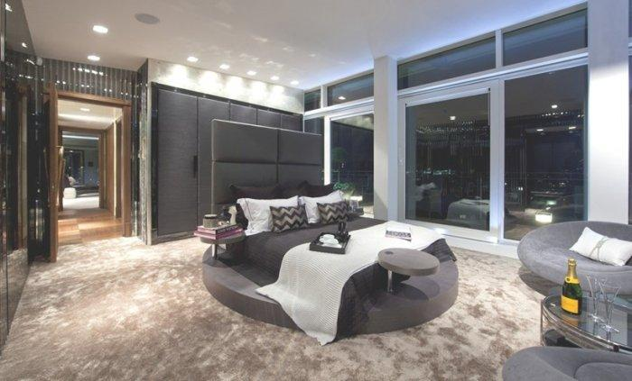 Master bedroom with round bed
