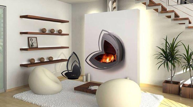 Metal contemporary wall art - a fireplace