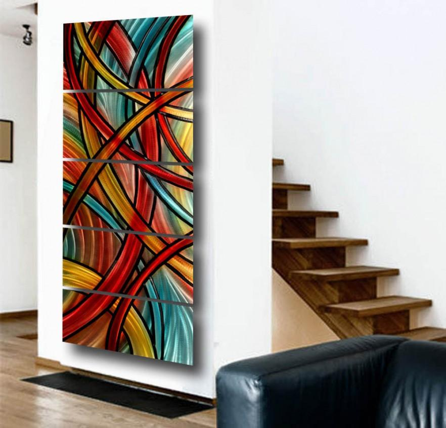 Wall Art Contemporary Glass : Contemporary wall art abstract metal and glass founterior