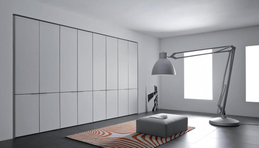 Minimalist fitted wardrobe - with stylish doors