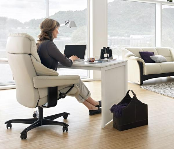 Woman with white office chair