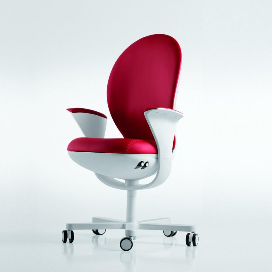 Red office chairs with wheels