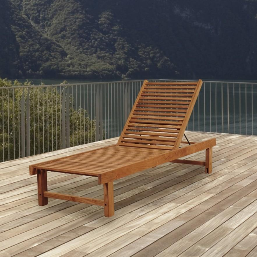 Modern Teak Outdoor Lounge   With Adjustable Back