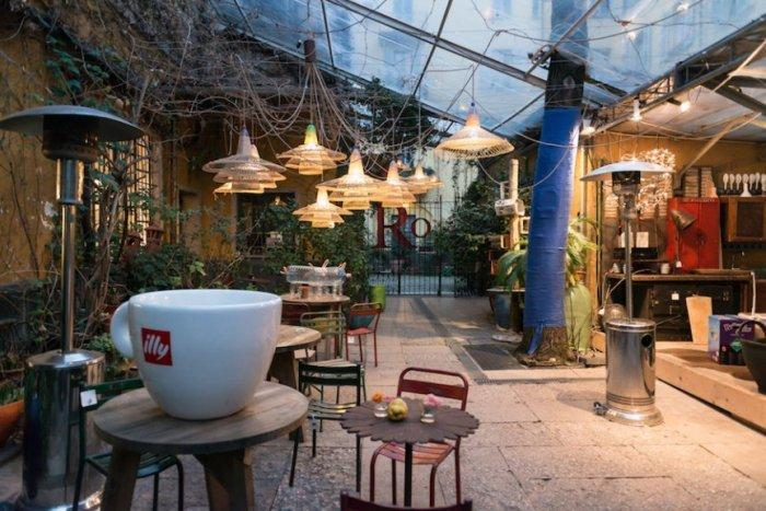 Cafe design with outdoor tables
