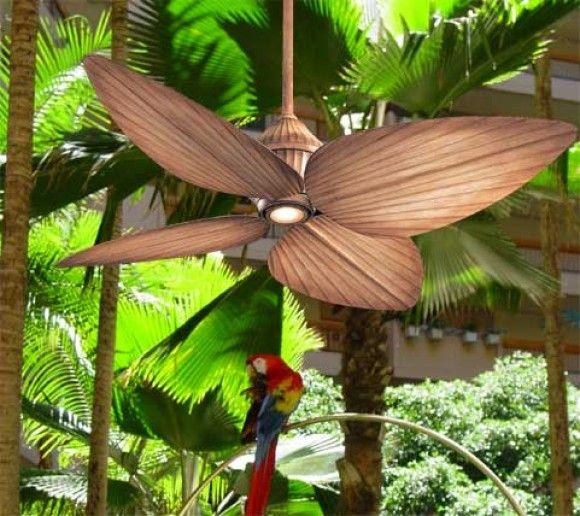 Wooden Outdoor ceiling fan with leaf propellers